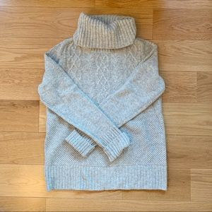 GAP Cable Knit Turtleneck Sweater in Gray